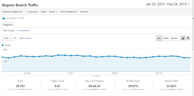 Analytics organic search report