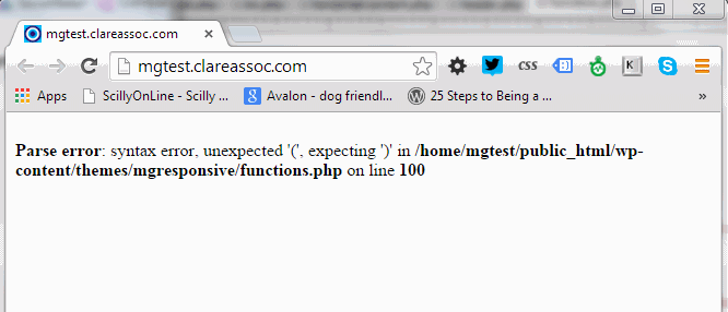 Erk!  Where did my site go and why have I got this error message instead?